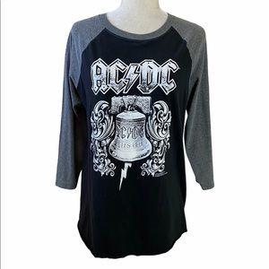 AC/DC Rock Band Grey & Black Jersey Sleeve T-Shirt
